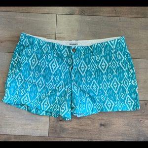 Old Navy Teal Aztec Print Shorts